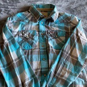 Hollister blue button down shirt